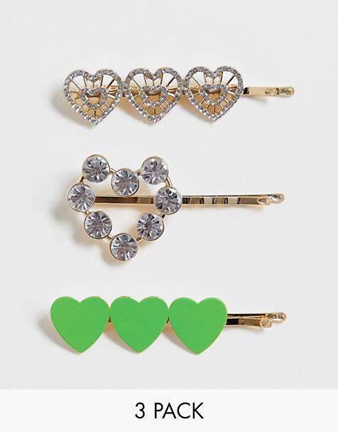 ASOS DESIGN pack of 3 hair clips in heart designs in gold tone