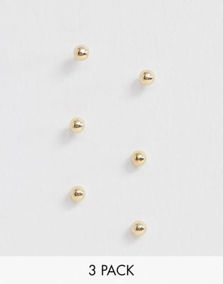 ASOS DESIGN pack of 3 tiny stud earrings in gold tone