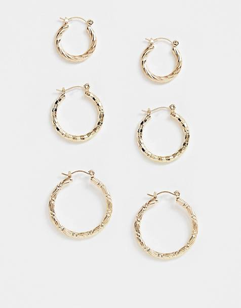 ASOS DESIGN pack of 3 twist hoop earrings in gold tone
