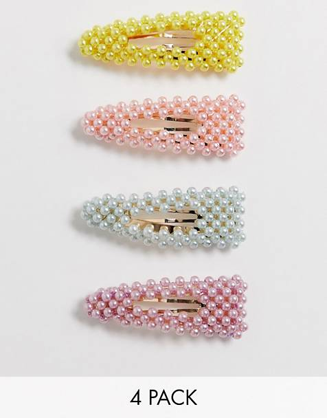 ASOS DESIGN pack of 4 hair clips in mixed color pearls
