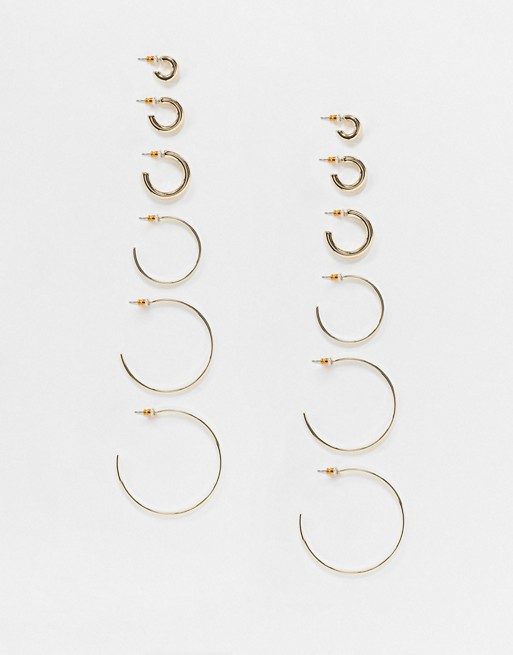ASOS DESIGN pack of 6 hoop earrings in thin and thick designs in gold tone