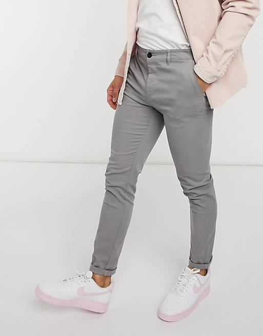 ASOS DESIGN - Pantalon chino ajusté - Gris clair
