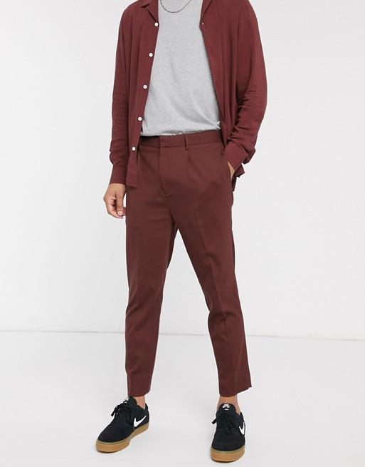 ASOS DESIGN - Pantalon court habillé fuselé d'ensemble - Marron chocolat