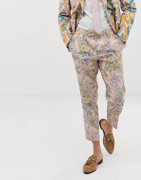 ASOS DESIGN - Pantalon de costume coupe cigarette à imprimé cachemire pour mariage