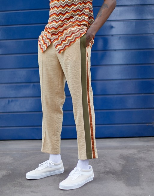Design - Pantalon Habillé Court Ajusté En Crêpe À Bandes Latérales Taupe