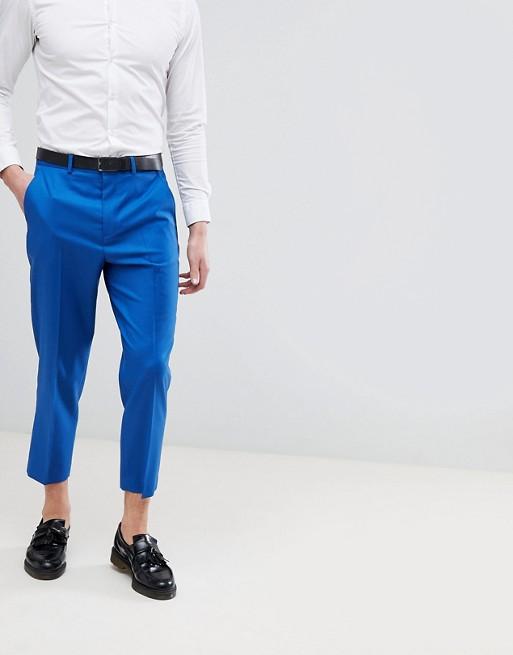 Image 1 sur ASOS DESIGN - Pantalon habillé fuselé de mariage en laine 100% - Bleu vif