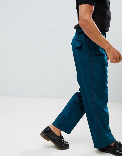 asos design pantalon large l gant en velours avec bande. Black Bedroom Furniture Sets. Home Design Ideas