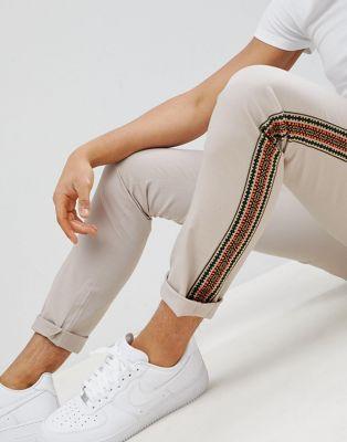 ASOS DESIGN - Pantalon skinny avec bande style aztèque sur le côté - Beige