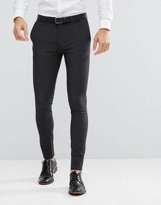 ASOS DESIGN - Pantaloni da abito super skinny antracite