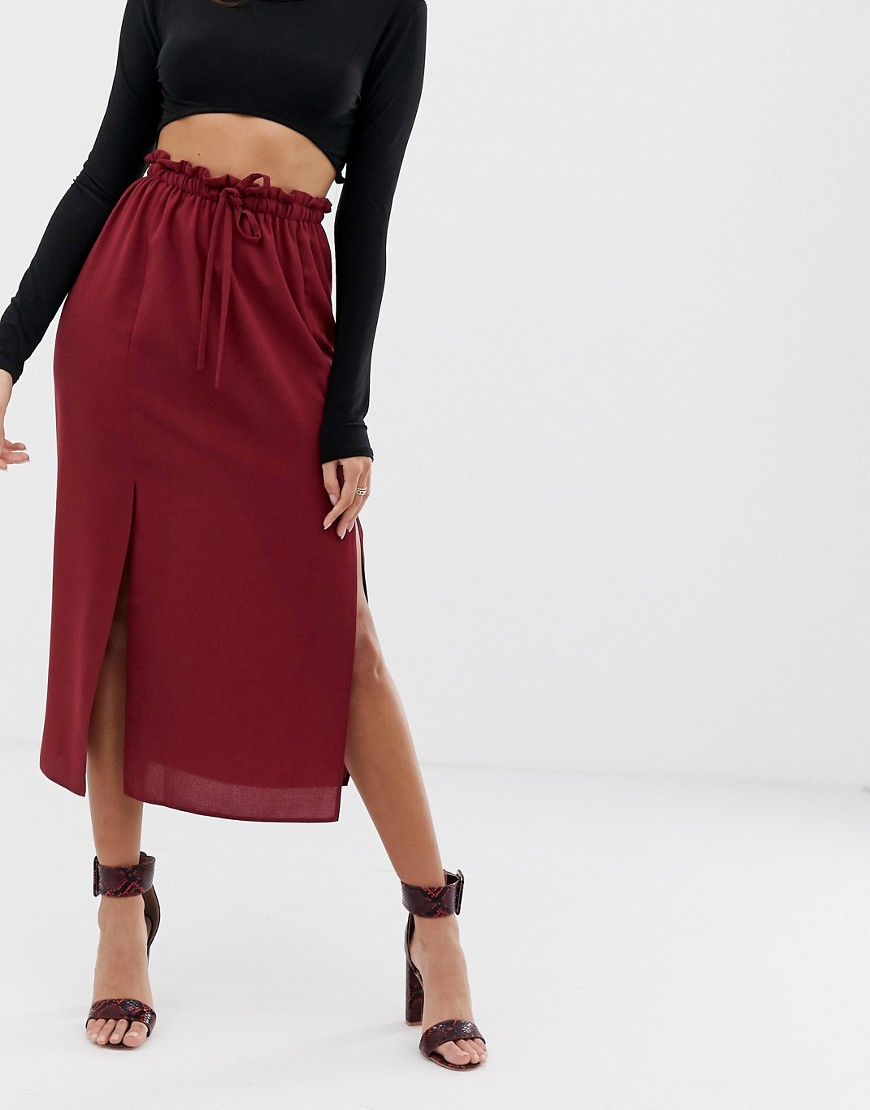 Asos Design Paperbag Midi Skirt With Splits by Asos Design