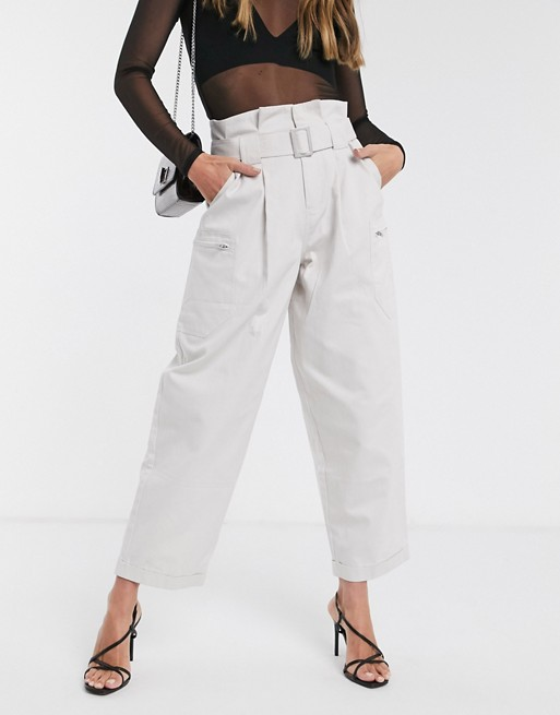 ASOS DESIGN paperbag waist combat trouser with zips in light grey