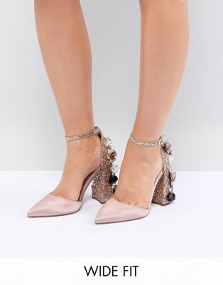 ASOS DESIGN Passionate Wide Fit Embellished High Heels