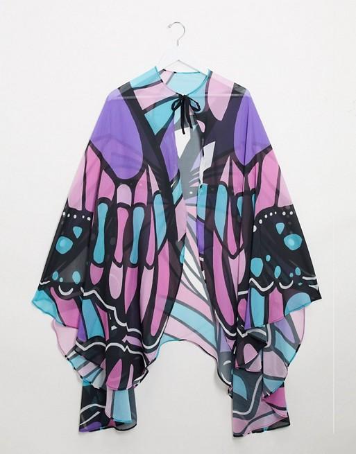 ASOS DESIGN – Pastellfärgad cape med fjärilsmönster