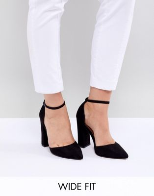 ASOS DESIGN – Pebble – Spitze High-Heels in extra weiter Passform