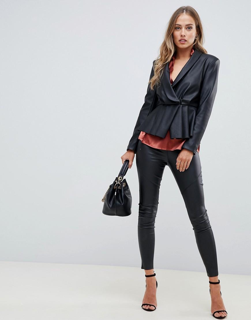 Asos Design Peplum Leather Look Blazer With Pleat Detail by Asos Design