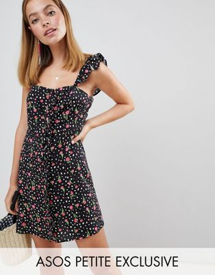 ASOS DESIGN Petite button through mini dress in mono spot and floral print