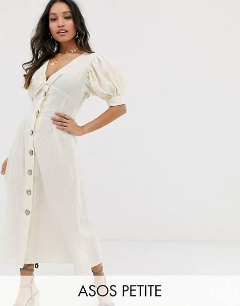 5892d53daf0 ASOS DESIGN Petite button through twist front maxi tea dress in seersucker