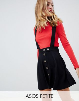 ASOS DESIGN Petite button up mini pinafore skirt