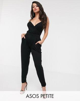 ASOS DESIGN Petite cami wrap jumpsuit with peg leg