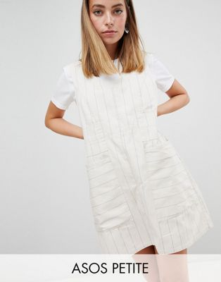 ASOS DESIGN Petite Casual Shift mini dress In Natural Stripe