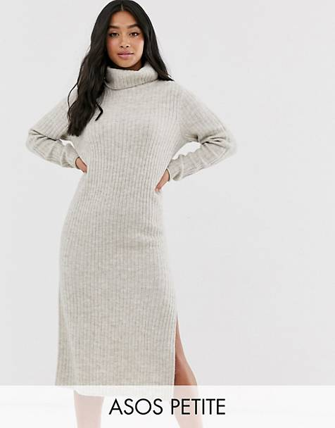 ASOS DESIGN Petite chunky midi dress with side split in recycled blend