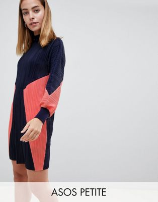 ASOS DESIGN Petite color block plisse sweat dress