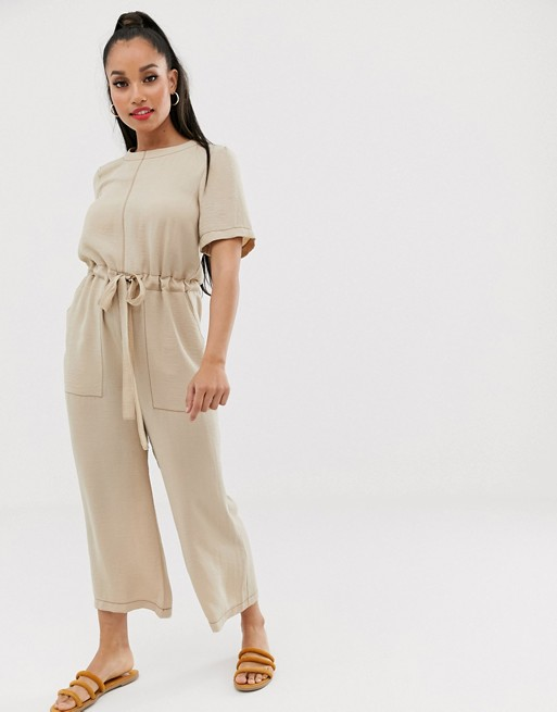 Asos Design Petite Contrast Stitch T Shirt Jumpsuit by Asos Design