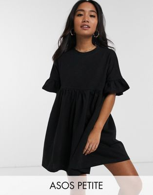 ASOS DESIGN Petite cotton slubby frill sleeve smock dress