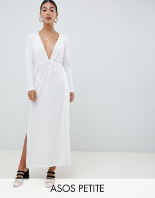 ASOS DESIGN Petite crepe maxi dress with drawstring waist