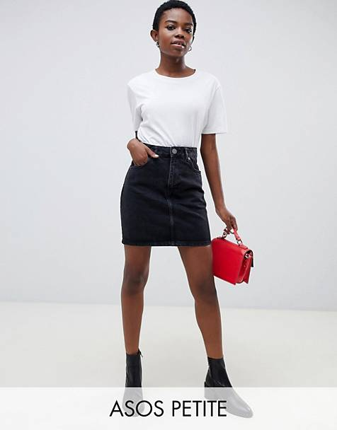 ASOS DESIGN Petite denim original high waisted skirt in washed black