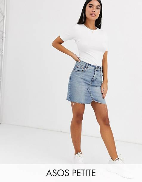 ASOS DESIGN Petite denim pelmet skirt in lightwash blue