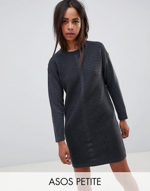 ASOS DESIGN Petite eco knitted mini dress in ripple