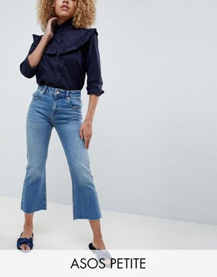 ASOS DESIGN Petite Egerton rigid cropped flare jeans in vintage mid wash