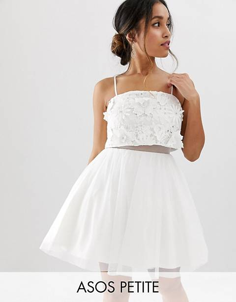 ASOS DESIGN Petite embellished crop top mini dress with 3D applique flowers