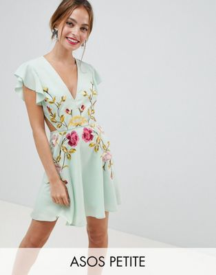 ASOS DESIGN Petite embroidered skater mini dress with cut out sides