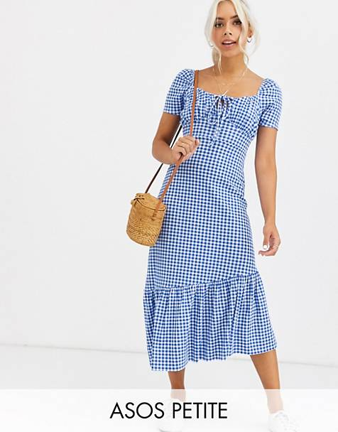 ASOS DESIGN Petite Exclusive puff sleeve gingham maxi dress