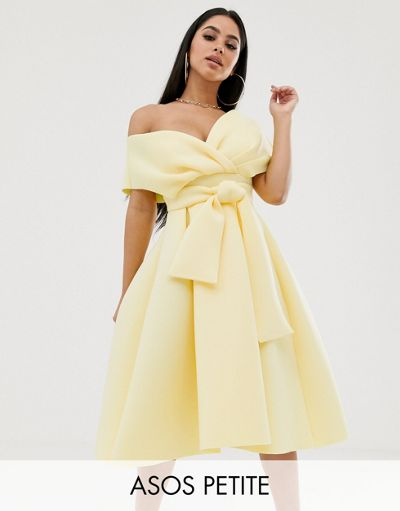 ASOS DESIGN Petite Fallen Shoulder Prom Dress with Tie Detail