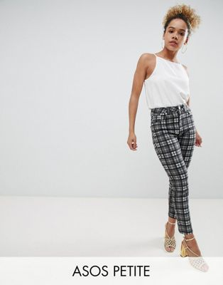 ASOS DESIGN Petite Farleigh High Waist Slim Mom Jeans In Mono Check