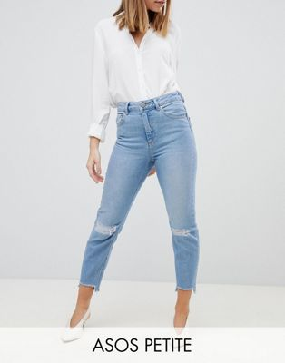 ASOS DESIGN Petite Farleigh High Waist Slim Mom Jeans In Zaliki Light Vintage Wash WITH BUSTED KNEE AND Rip & Repair