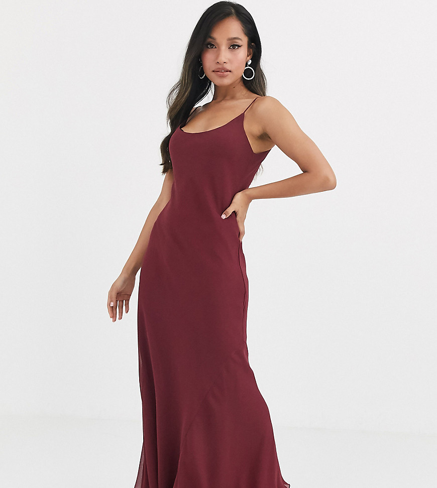 asos design petite floaty cami maxi dress-red