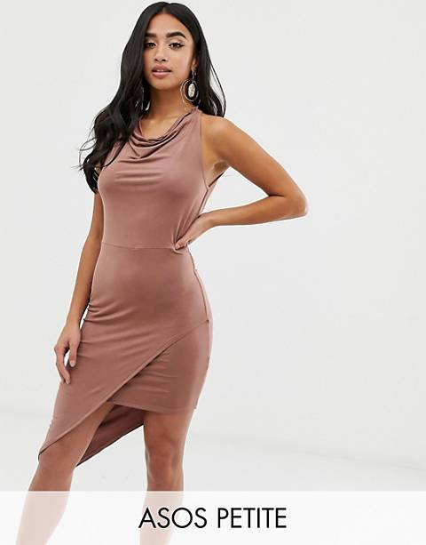 ASOS DESIGN Petite Halter Slinky Wrap Midi Dress