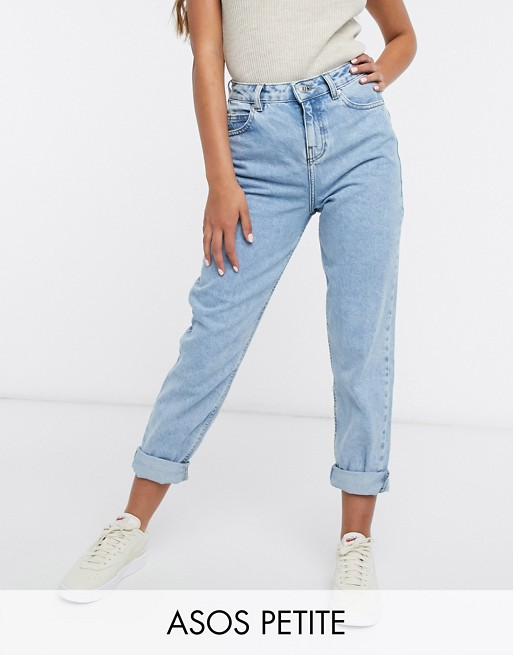 ASOS DESIGN Petite high rise 'original' mom jeans in lightwash