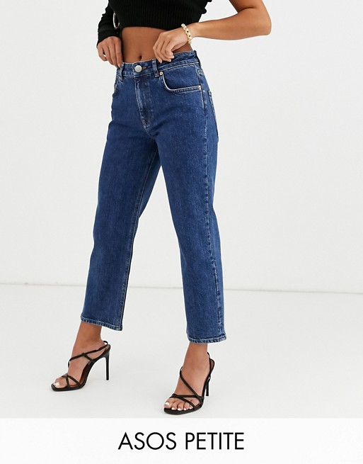 ASOS DESIGN Petite High rise 'slim' straight leg jeans in mid vintage wash