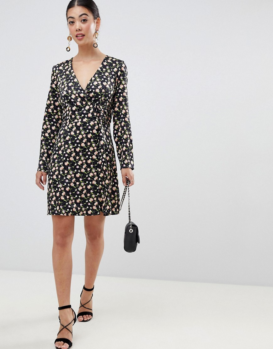 Asos Design Petite Jacquard Mini Skater Dress With Buttons And Long Sleeves by Asos Design