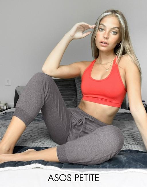 ASOS DESIGN Petite - Jogger basique avec liens à nouer - Anthracite chiné Pantalons et leggings femme