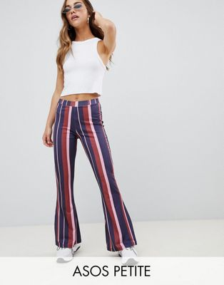 ASOS DESIGN Petite kick flare leggings in 70s stripe