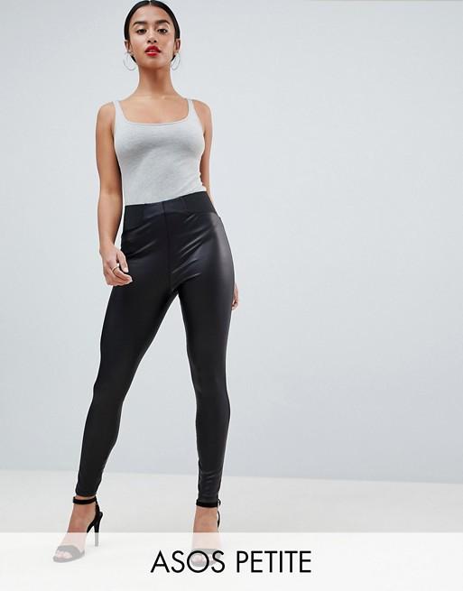 ASOS DESIGN – Petite – Leggings i skinnlook med elastisk, smal midja