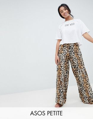 ASOS DESIGN Petite Leopard Print Woven Wide Leg Trouser With Cropped Jersey Tee