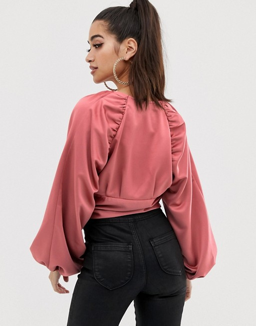 5aa24a529117d ASOS DESIGN Petite long sleeve plunge top with buckle front and kimono  sleeve