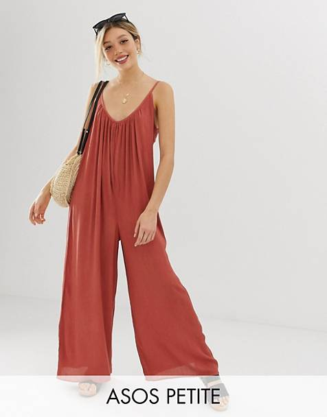 5be406a3a9d ASOS DESIGN Petite low back jumpsuit in crinkle